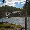 Old Canyon Bridge which is part of the North Rim Trail spanning the Yellowstone River.
