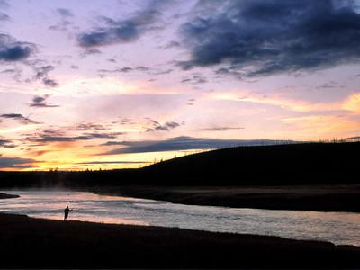 Fishing the Firehole at sundown