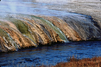 The hot water from the gysers flows over the limestone revealing the yellow tint.  It gives the Park its name.