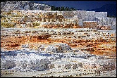Colorful Terraces, Mammoth Hot Springs, Yellowstone National Park Mammoth is a large hill of travertine that has been created over thousands of years as hot water from the spring cooled and deposited calcium carbonate (over two tons flows into Mammoth each day in a solution).   Shallow circulation along this corridor allows Norris' superheated water to slightly cool before surfacing at Mammoth, generally at about 170°F (~77°C). Algae living in the warm pools have tinted the travertine shades of brown, orange, red and green.