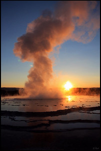 Eruption at Sunset, Great Fountain Geyser, Yellowstone National Park  The Great Fountain Geyser is a fountain-type geyser located in the Firehole Lake area of Lower Geyser Basin of Yellowstone National Park, Wyoming. The geyser erupts every 9 to 15 hours.