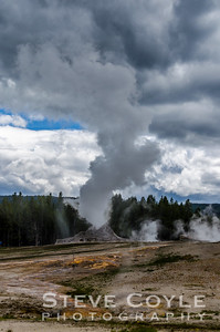 The cloudy afternoon we had on this day in Yellowstone National Park provided for a great optical illusion that this geyser was belching steam to feed them.