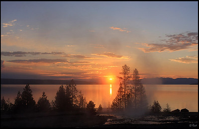 Steams and Thermal Features at West Thumb Geyser Basin, Sunrise, Yellowstone National Park