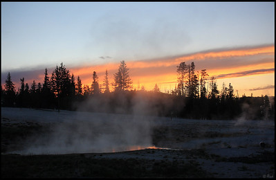 West Thumb Geyser Basin, Sunset, Yellowstone National Park