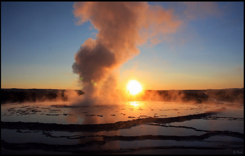Eruption at Sunset, Great Fountain Geyser, Yellowstone National Park<br /> <br /> The Great Fountain Geyser is a fountain-type geyser located in the Firehole Lake area of Lower Geyser Basin of Yellowstone National Park, Wyoming. The geyser erupts every 9 to 15 hours.
