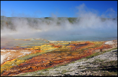 Colorful thermal features, Lower Geyser Basin, Yellowstone National Park