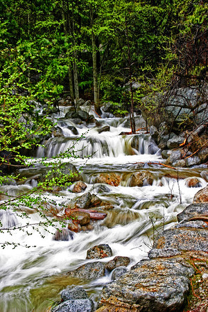 Stream from waterfall feeding the Merced River, Yosemite.