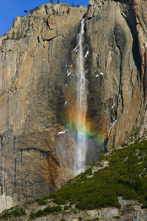 Upper Yosemite Falls with rainbow