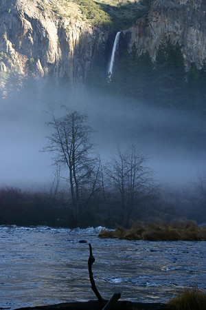 2008 - more fog in the valley along the Merced River with Bridal Veil in the background.