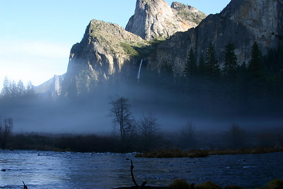 2008.  Tule fog in the valley along the Merced River with Bridal Veil falls in the background.
