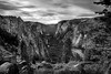 """This epic landscape shows the climb from Yosemite valley floor switch-backing past the spires of Sentinel Peaks and over to Glacier Point. <br /> <br /> """"Everyone needs beauty as well as bread, places to play in and pray in where nature may heal and cheer and give strength to body and soul alike"""" - John Muir, 1869"""