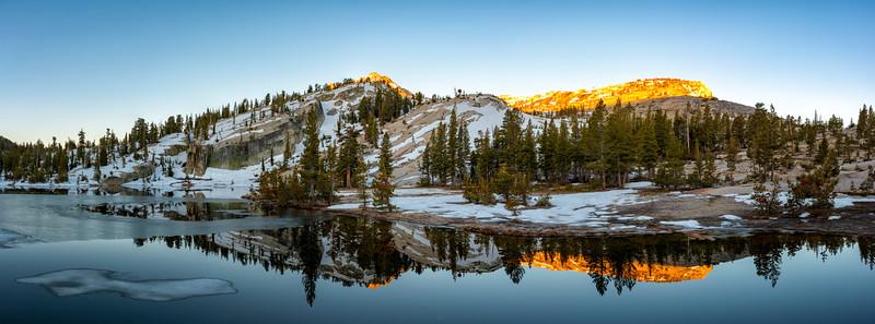 Upper Cathedral Lake Tressider Peak Sunrise Panorama - Yosemite