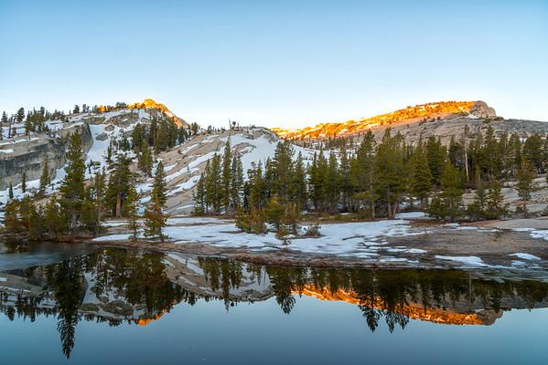 Upper Cathedral Lake Tressider Peak Sunrise - Yosemite