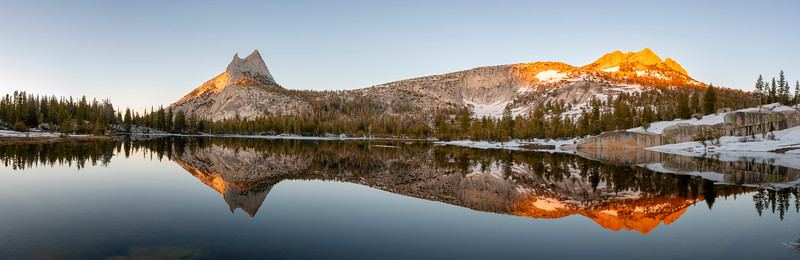 Cathedral Peak Sunset Reflection Panorama - Yosemite