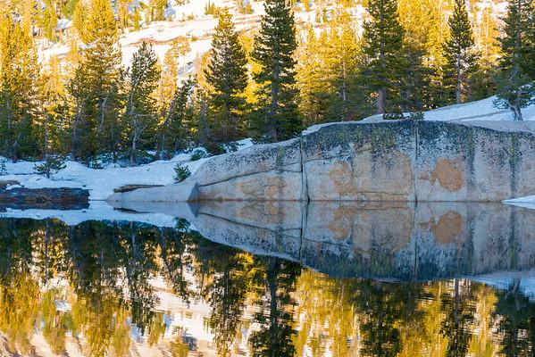 Upper Cathedral Lake Sunset Reflection - Yosemite