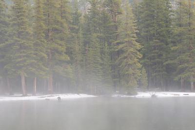 Teneya Lake during a light rain