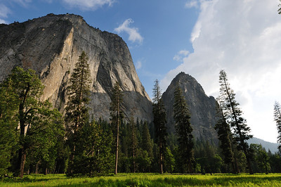 Huge granite cliffs of the Yosemite valley at sunset