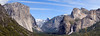 "This is a 3-image panorama of Yosemite Valley taken from the ""Tunnel View"" overlook.  The waterfall is Bridal Veil Falls."