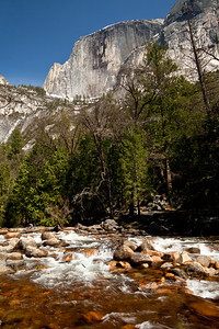 Outlet from Mirror Lake, Half Dome in background
