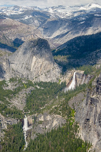 Vernal and Nevada Falls from Glacier Point, Yosemite National Park, California in May 2017.