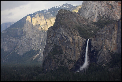 Bridalveil Falls as seen from Tunnel View, Sunset