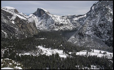 Half Dome and Yosemite Valley in winter, as seen from Yosemite Falls Trail