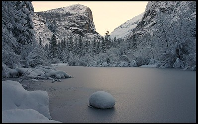 Mirror Lake, winter morning before sunrise