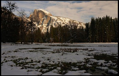 Half Dome at Sunset in Winter