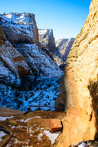 Hiking to Observation Point, Zion National Park, Utah, January 2015.