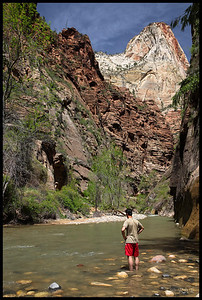 Hiker at The Narrows, Zion National Park