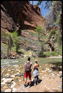 Hikers at The Narrows, Zion National Park