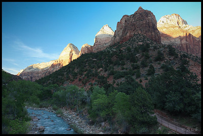 Sunset over Virgin River, Zion National Park