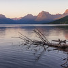 Lake Macdonald at sunset.  Glacier National Park, Montana.