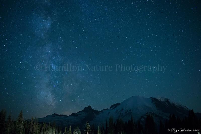 Milky Way and Meteors over Mt. Rainier