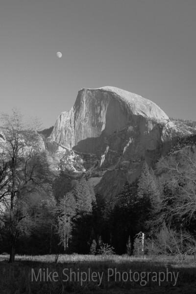 Moon Over Half Dome, BW, Yosemite Valley, Yosemite National Park