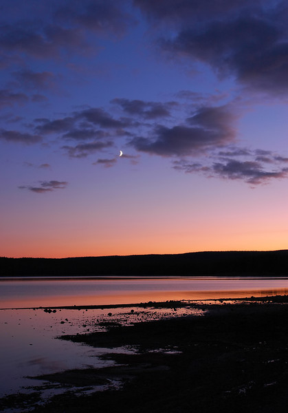 Crescent Moon Sunset, Yellowstone Lake