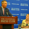 Gov. John Kasich, left, of Ohio at press conference with National Press Club president Andrea Edney