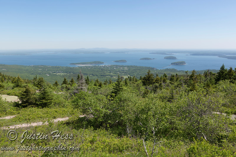 Back on top of Cadillac Mountain looking toward Bar Harbor and the Porcupine Islands.