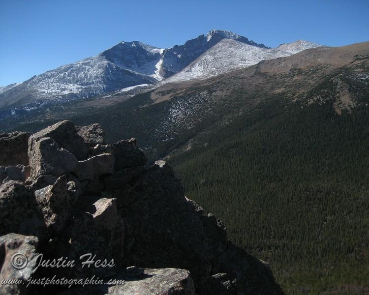 The view of Longs Peak and Meeker.