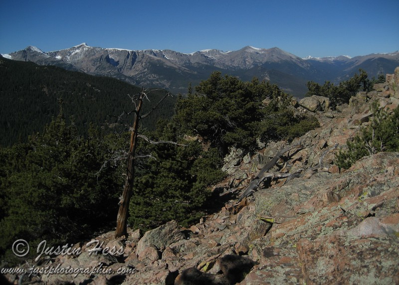 The view of the Continental Divide from near the Estes Cone summit.