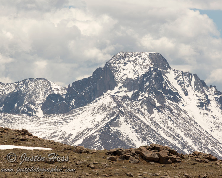 Longs Peak and Meeker viewed from the Ute Trail in Rocky Mountain National Park.