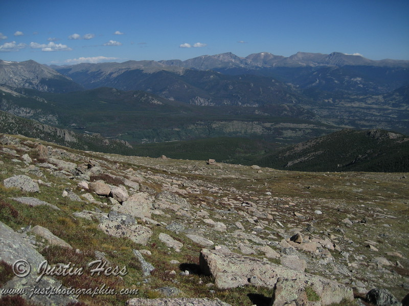 This is a view of the Glacier Gorge area and the Mummy Range.