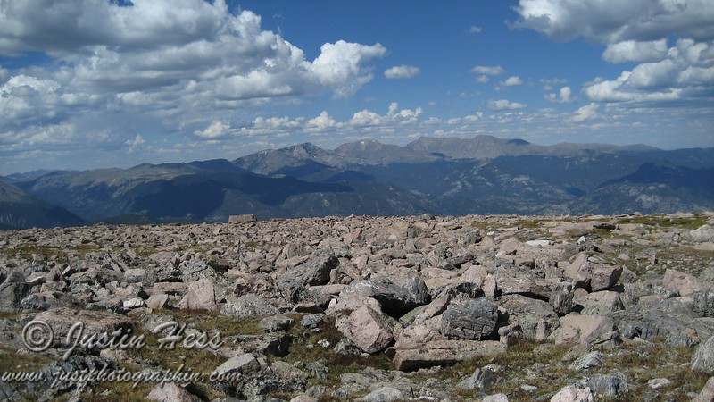 The Mummy Range from the lower end of the Boulder Field.