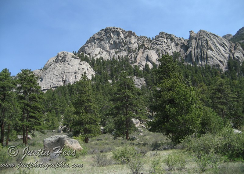"The rock formation on the left is called ""The Pear.""  Lumpy Ridge."