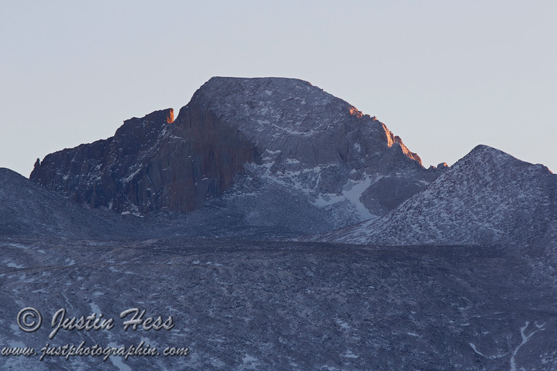 Longs Peak catching a few last rays from the sun.  1-16-2013.  HDR Shot