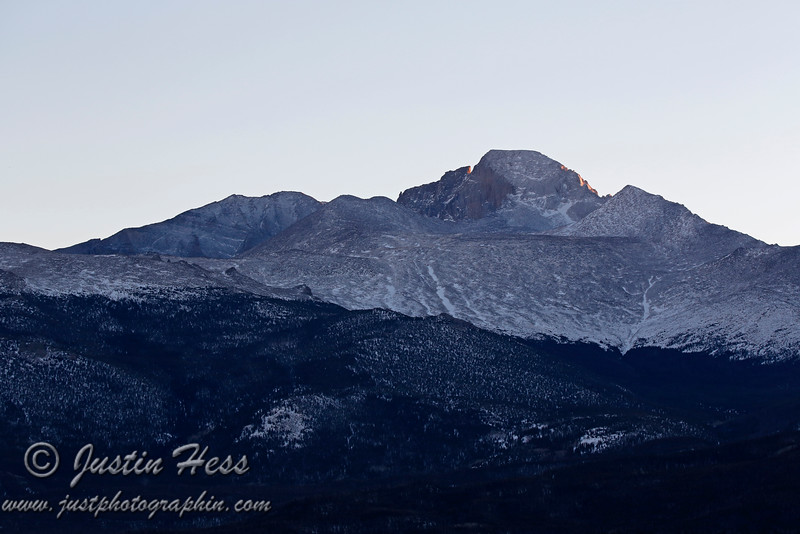 Meeker and Longs Peak catching the last rays of the sun.  1-16-2013.