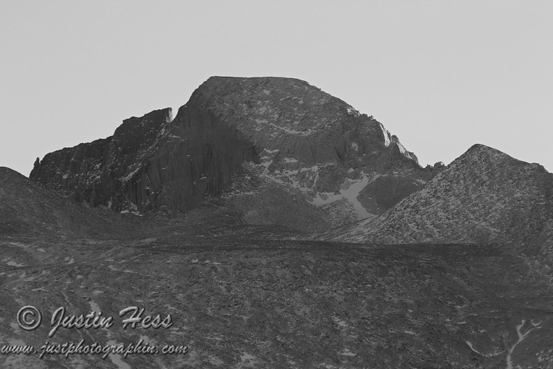Longs Peak catching a few last rays from the sun. 1-16-2013.  HDR Shot; black and white edit.