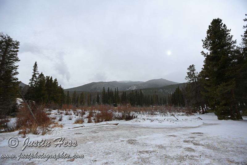 The view from the Sprague Lake parking lot in Rocky Mountain National Park.
