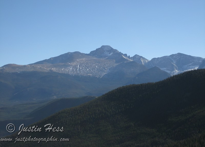 Meeker and Longs Peak viewed from Many Parks Curve.