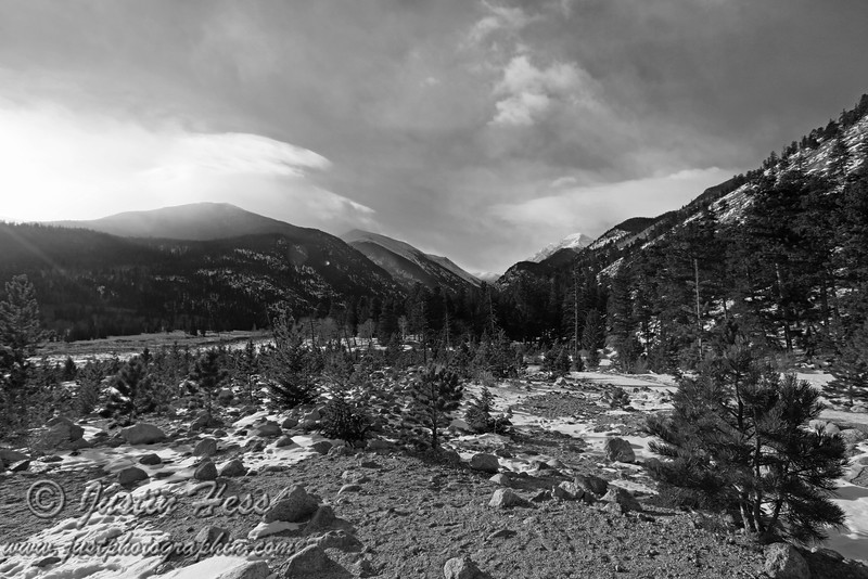 Taken from Alluvial Fan, looking west.  Once again, Chapin Mountain is the only peak in the Mummy Range visible below the clouds.